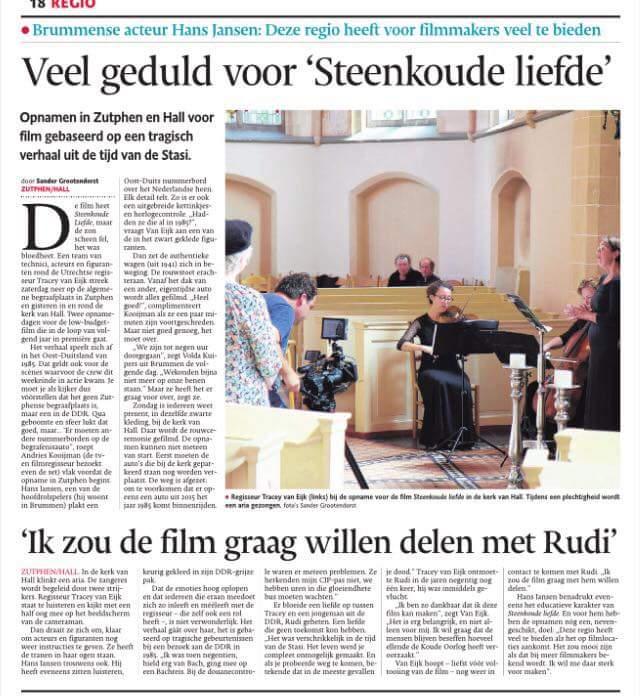 cameramangevonden.nl en steenkoude liefde in de krant